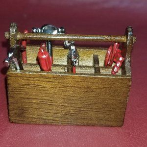 Vintage Dollhouse Miniature  Tool Box with Tools